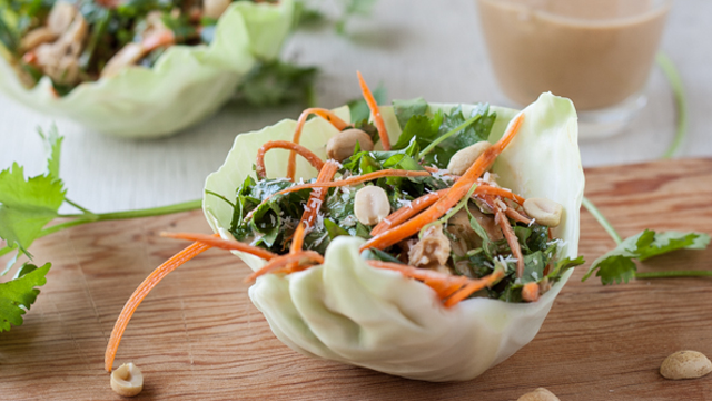 Thai Chicken Wraps + Peanut-Coconut Sauce