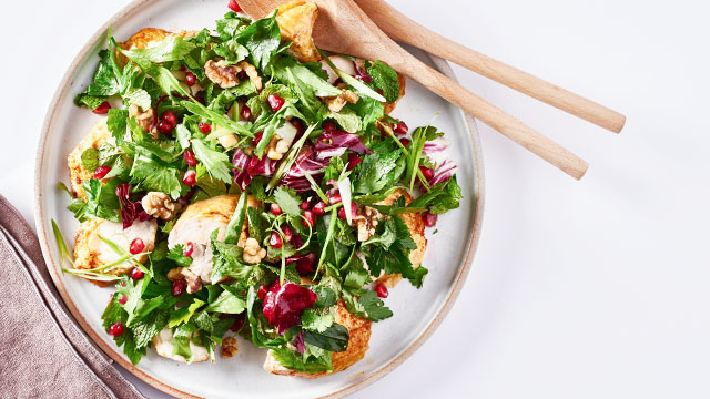 Roasted Chicken, Pomegranate + Herb Salad